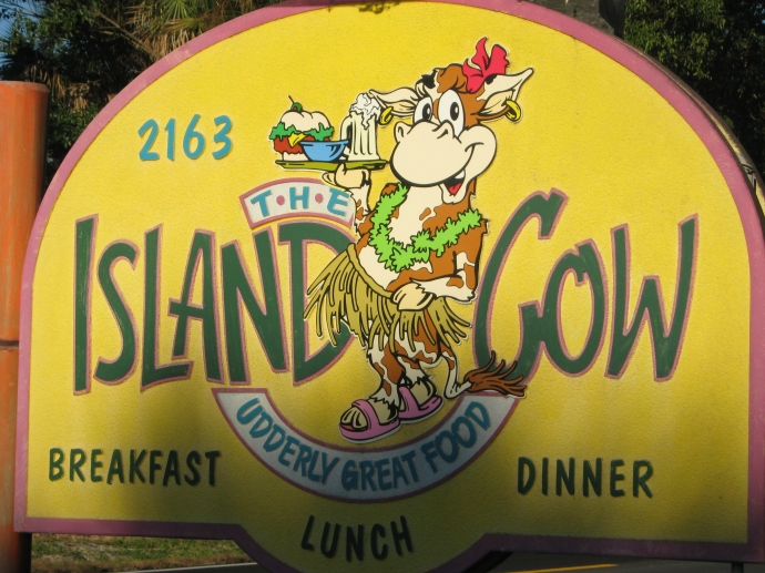 Island Cow sign
